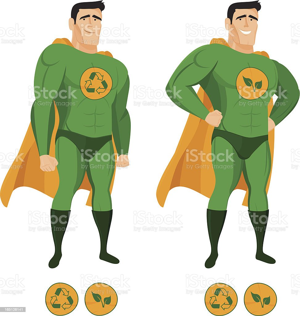 Recycle Superhero In Green Uniform With A Cape Stock