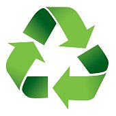 Vector illustration of green recycle symbol isolated on white