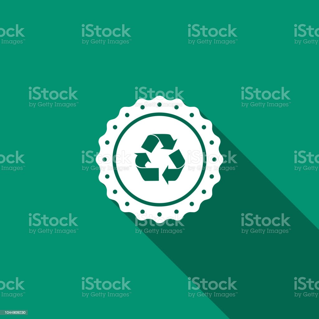 Recycle symbol label icon isolated with long shadow. Environment...