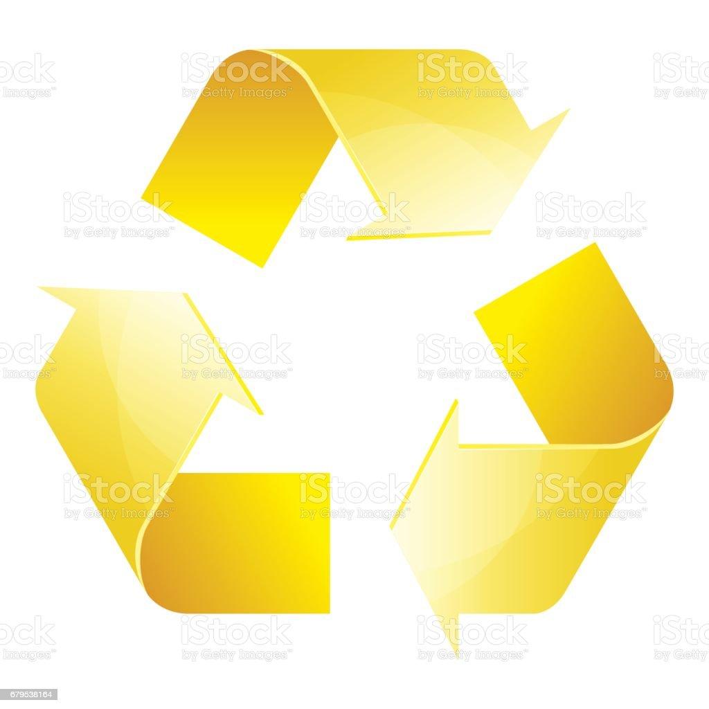 Recycle symbol of conservation yellow icon isolated on white recycle symbol of conservation yellow icon isolated on white background 3d vector illustration royalty buycottarizona Choice Image