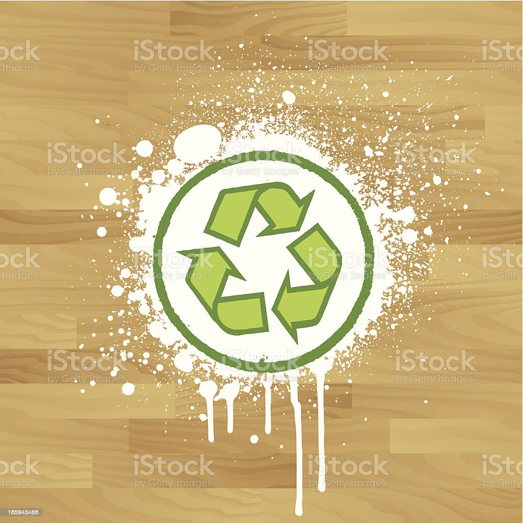 Recycle symbol on wood royalty-free stock vector art