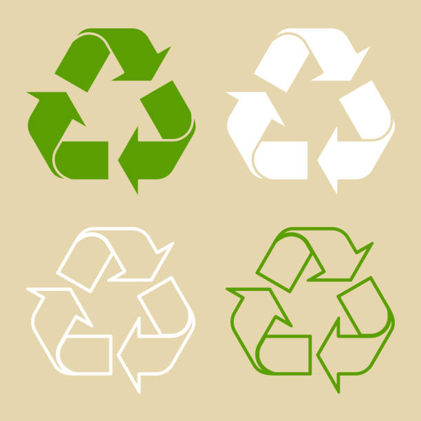 recycle symbol set isolated - recycling stock illustrations