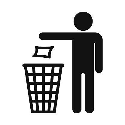Recycle symbol, Stick man throwing trash into garbage can