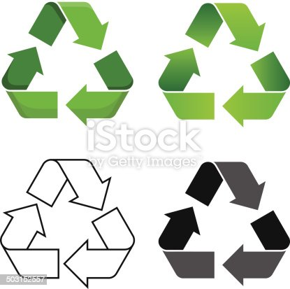Set of four isolated vector recycle symbol.