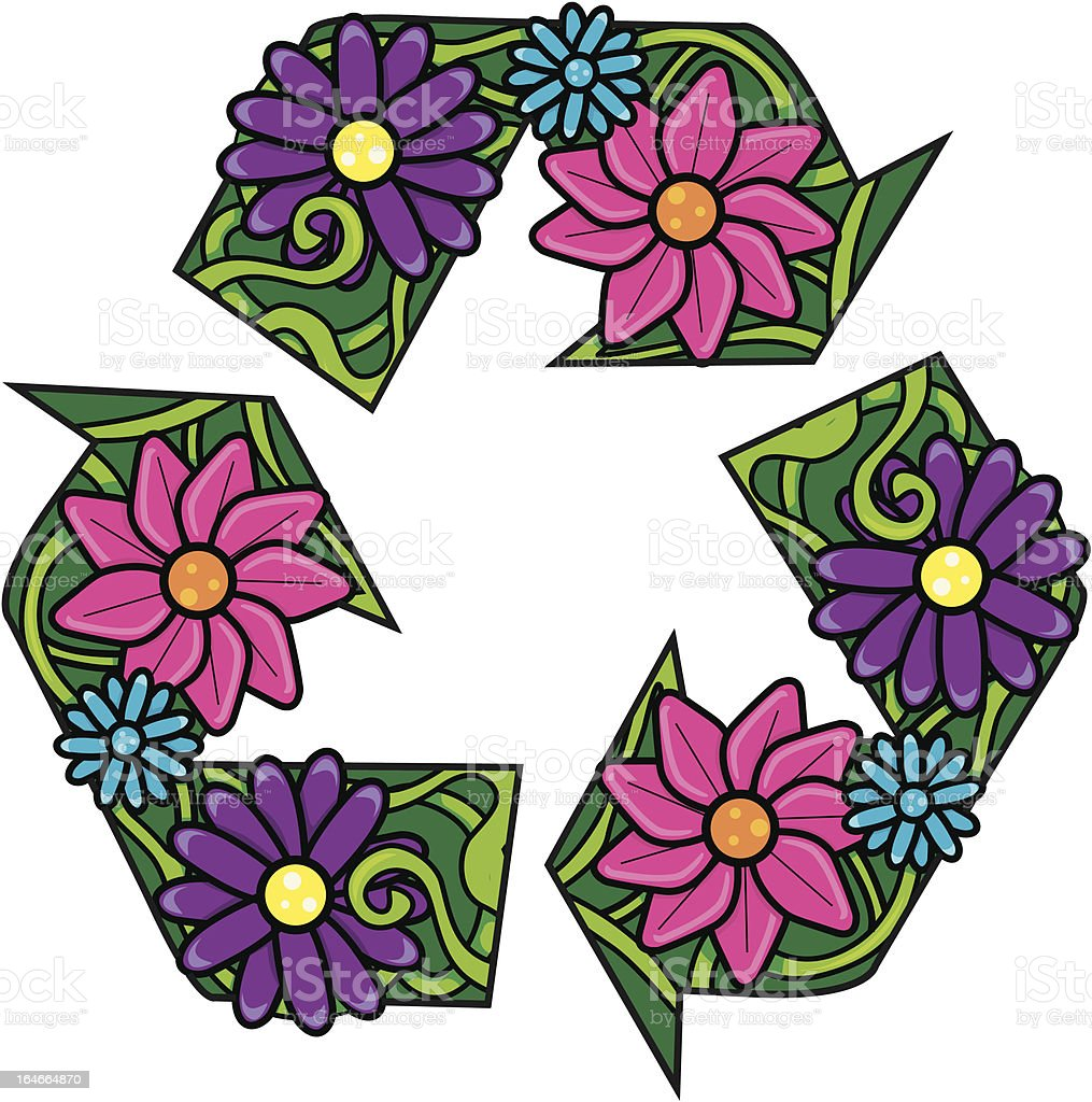 Recycle Symbol with Flowers royalty-free stock vector art