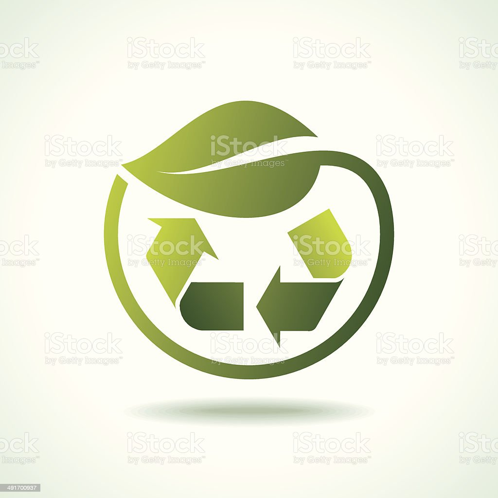 recycle symbol with leaf icon royalty-free stock vector art