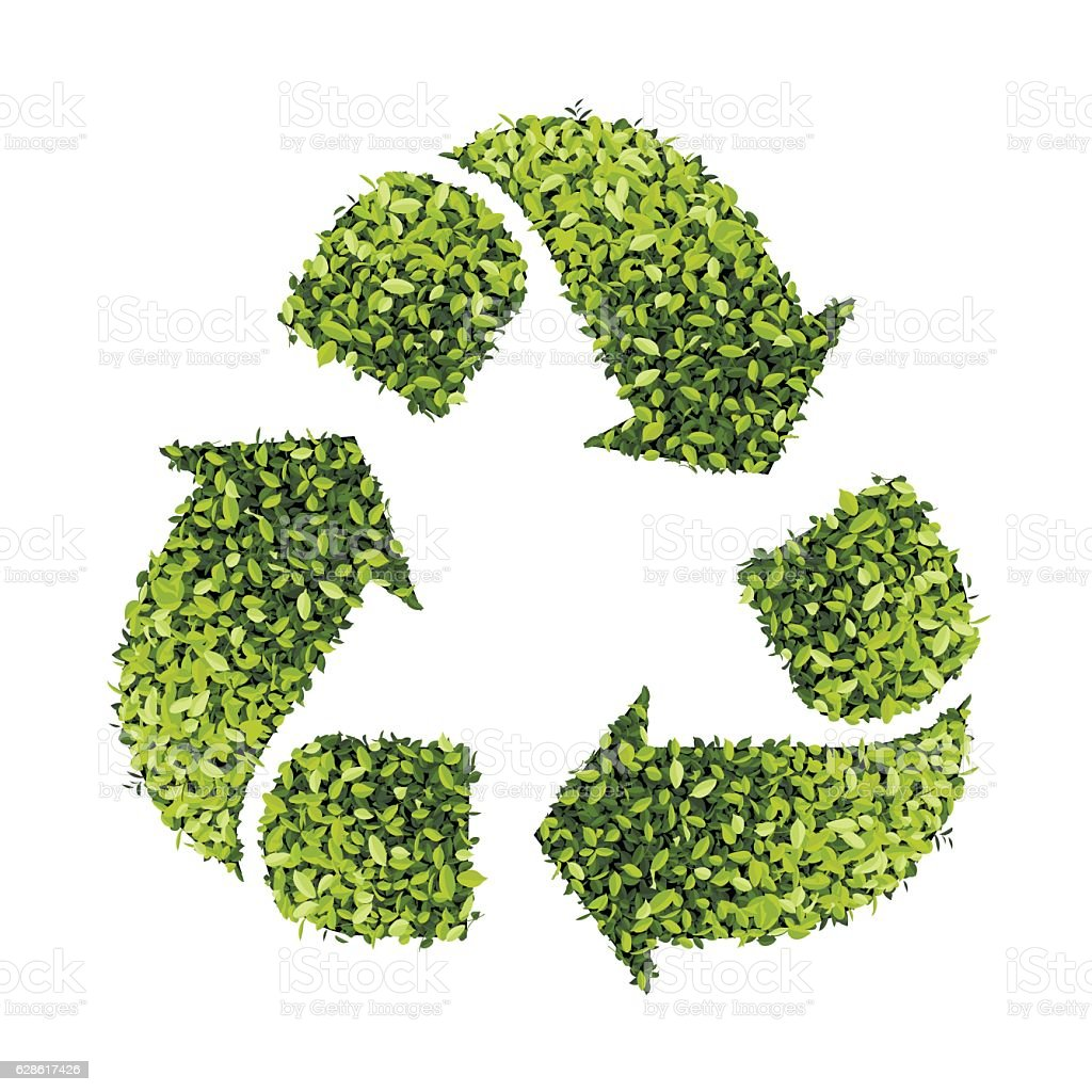 Recycle Symbol With Leaf Texture Isolated On White