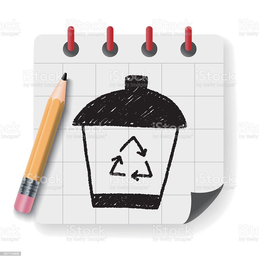 Ilustracao De Reciclagem De Lixo Podem Doodle Desenho E Mais Banco