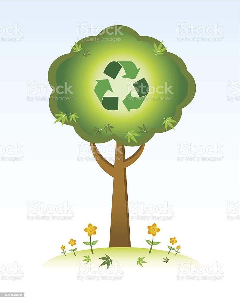 Recycle Tree vector art illustration