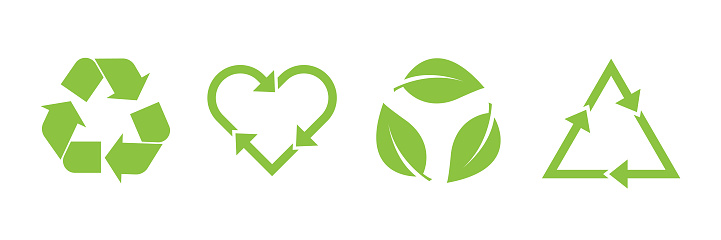 Recycle vector icon set. Arrows, heart and leaf recycle eco green symbol. Rounded angles.