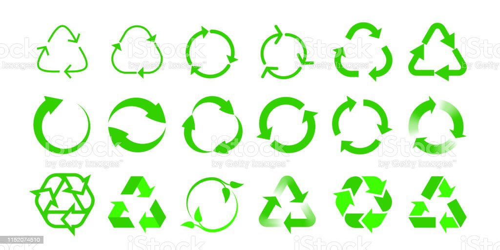 Recycle vector icons bio reuse package label templates. Green eco...