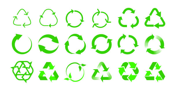 Recycle vector icons bio reuse package label templates. Green eco recycle arrow in green triangle Recycle vector icons bio reuse package label templates. Green eco recycle arrow in green triangle recycling symbol stock illustrations