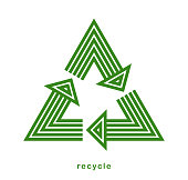 istock Recycle vector triangle icon in modern geometric linear style isolated on white, contemporary line symbol of environmental conservation. 1313356690