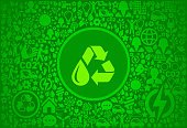 Recycle Water Environment Green Vector Icon Pattern