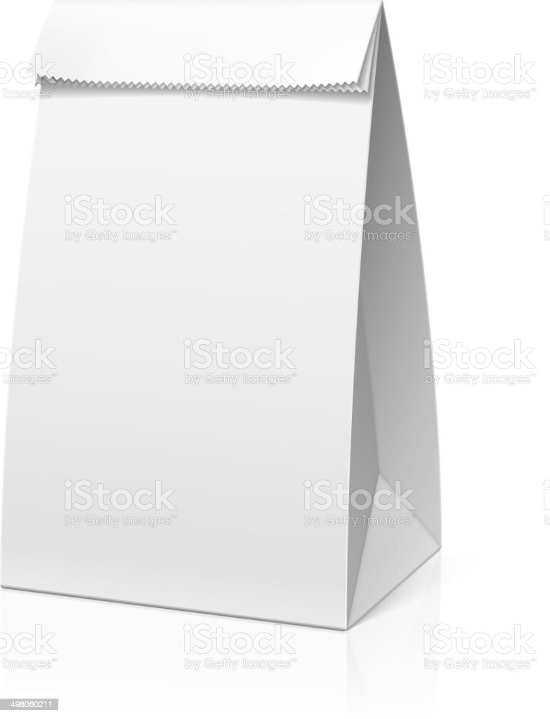 Recycle white paper bag vector art illustration