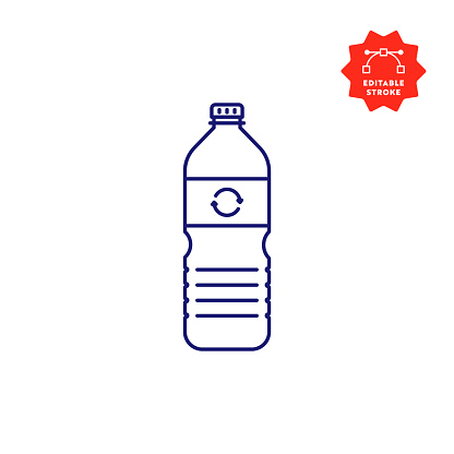 Recycleable Plastic Bottle Single Icon with Editable Stroke and Pixel Perfect.