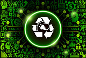 Recycled Electric Plug  Icon on Money and Cryptocurrency Background. The main symbol depicted is in the center of the illustration. The background is made up from icon with the cryptocurrency and money theme. These vector icons make up a pattern and vary in size and in the shade of the green color. The background color is black. This image is ideal for the current cryptocurrency themed illustrations.