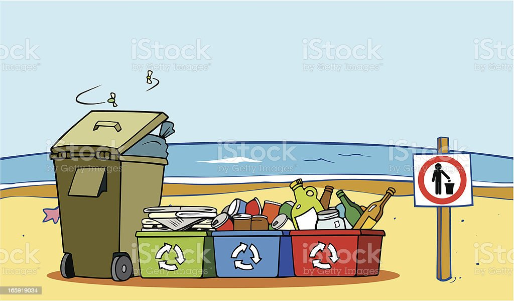 Recycled Items and Garbage on Beach royalty-free recycled items and garbage on beach stock vector art & more images of beach