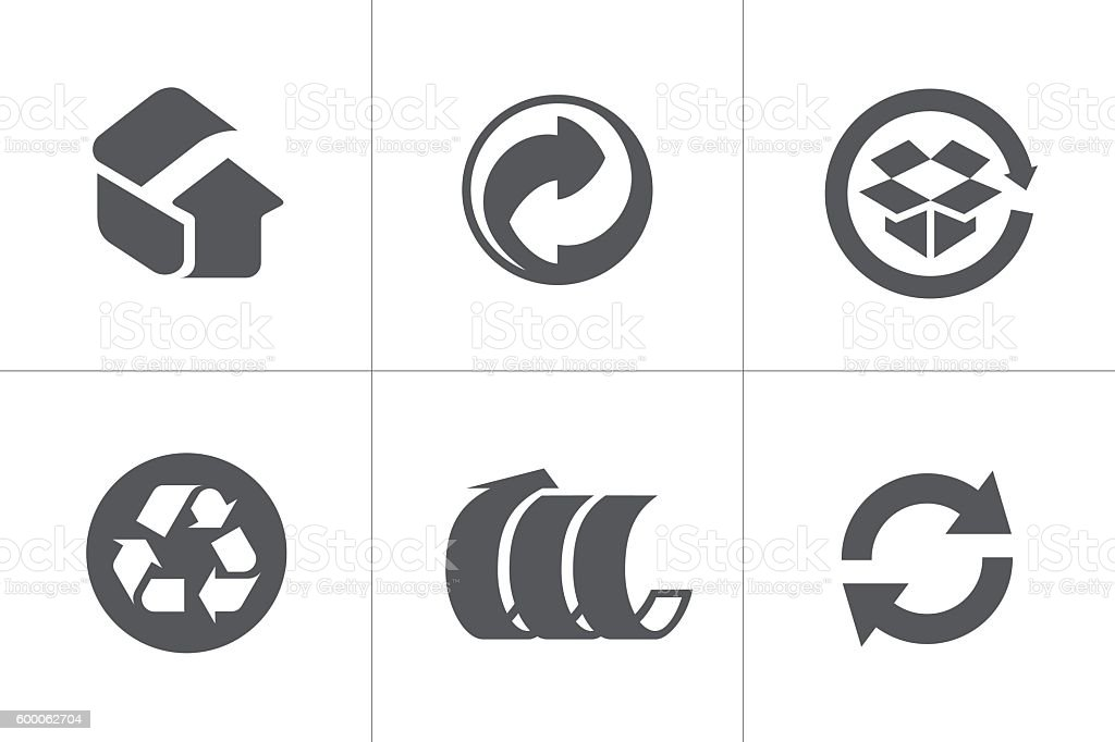Recycled Symbols Stock Vector Art More Images Of Black Color