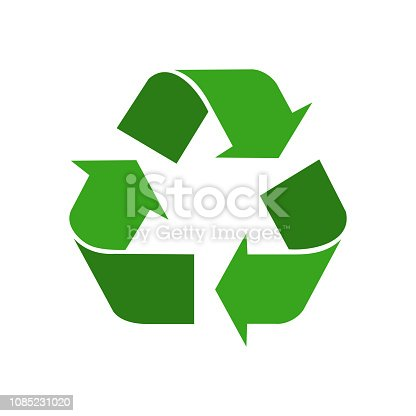 Recycled green symbol isolated on white background. Icon recycled element for website, app or infographics. Sign flat design vector illustration