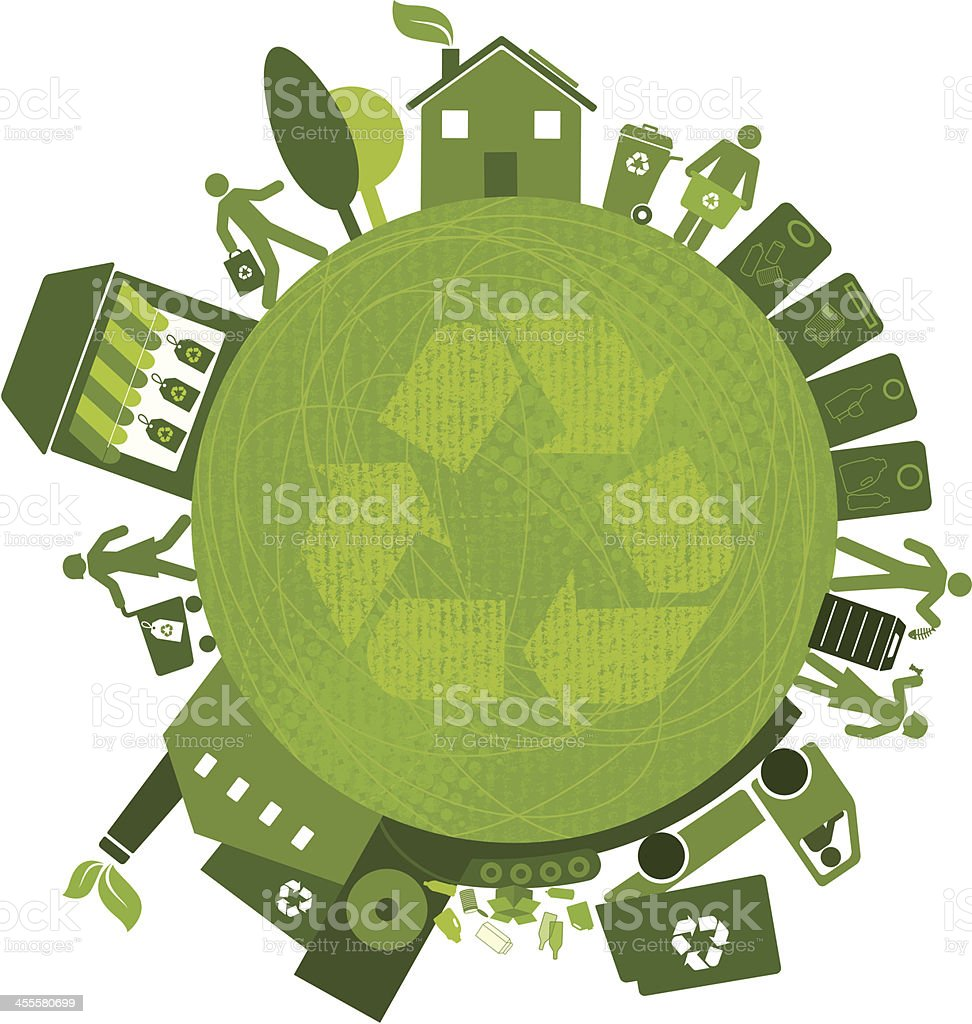 Recycling All Over the Planet (Green World Series) royalty-free stock vector art