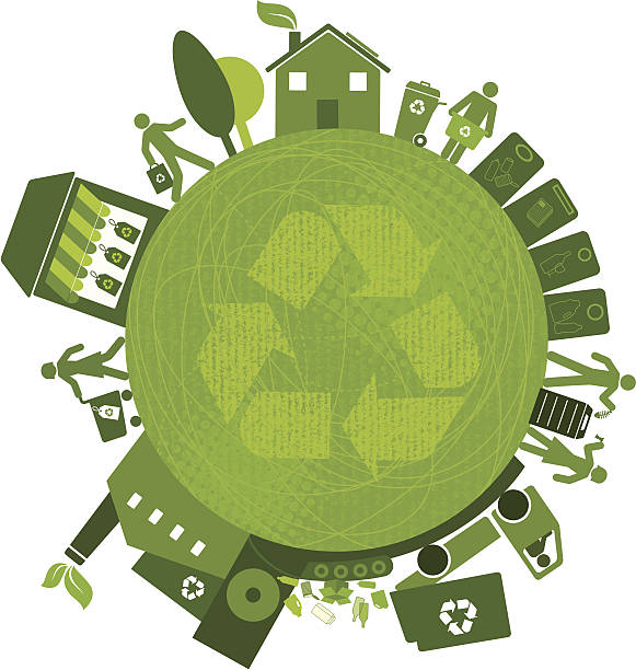 recycling all over the planet (green world series) - composting stock illustrations