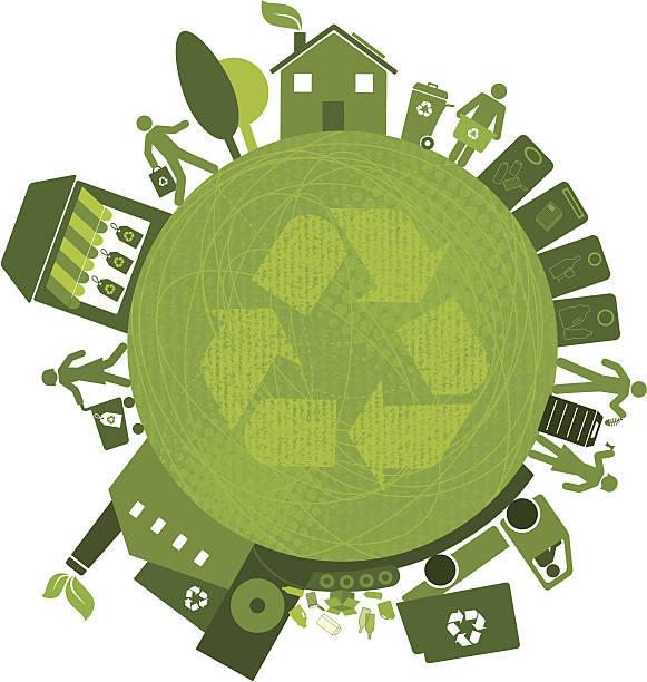 illustrazioni stock, clip art, cartoni animati e icone di tendenza di riciclaggio in tutto il mondo (verde serie di mondo - composting