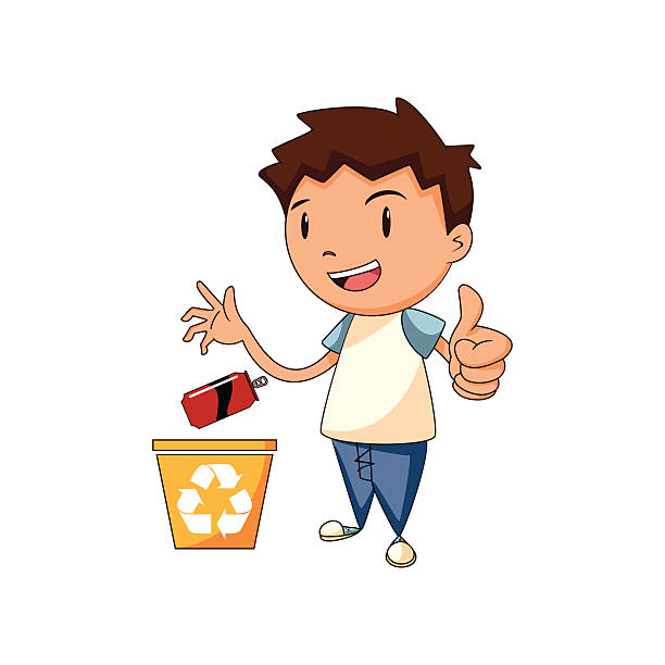 recycling aluminum, vector illustration - child throwing garbage stock illustrations, clip art, cartoons, & icons