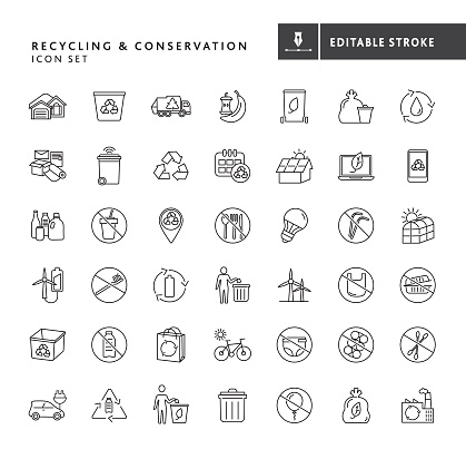 Recycling and Environmental Conservation Icon set
