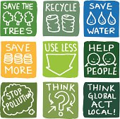 Recycling and environmental icon set.