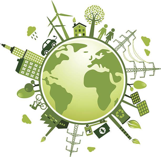 Recycling und grüne Welt-Grafik – Vektorgrafik