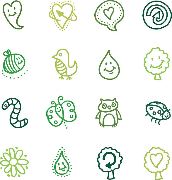 bildbanksillustrationer, clip art samt tecknat material och ikoner med recycling and nature doodle icon set - recycling heart