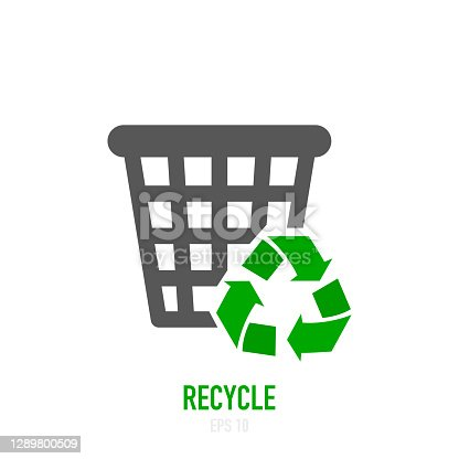 istock Recycling and rotation arrow icon. Vector illustration. 1289800509