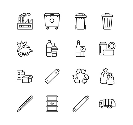 Recycling and sorting of waste line flat icon set. Garbage sorting. Vector illustration trash, factory, garbage truck, radioactive rubbish. Editable strokes.