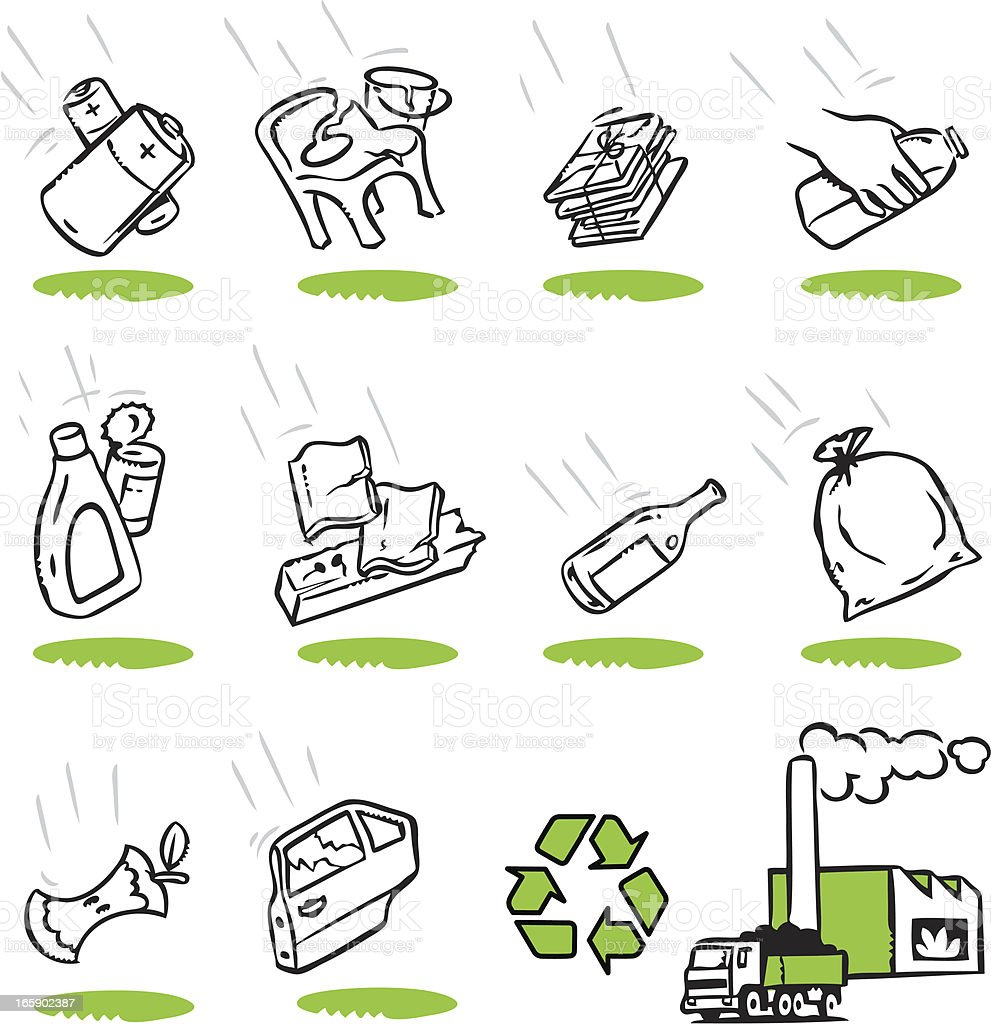 Recycling and trash related icons vector art illustration