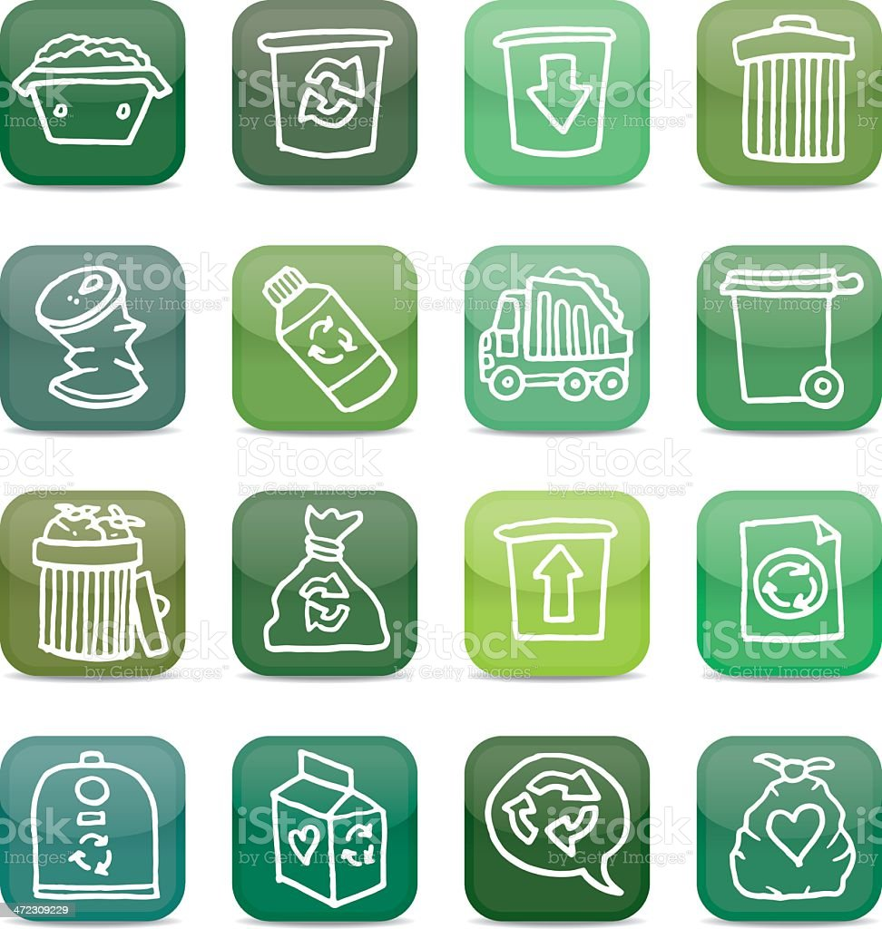 Recycling and waste glossy icon set royalty-free stock vector art
