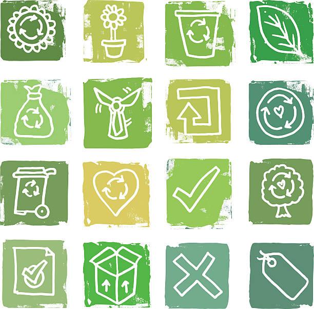 bildbanksillustrationer, clip art samt tecknat material och ikoner med recycling and waste grunge icon blocks - recycling heart