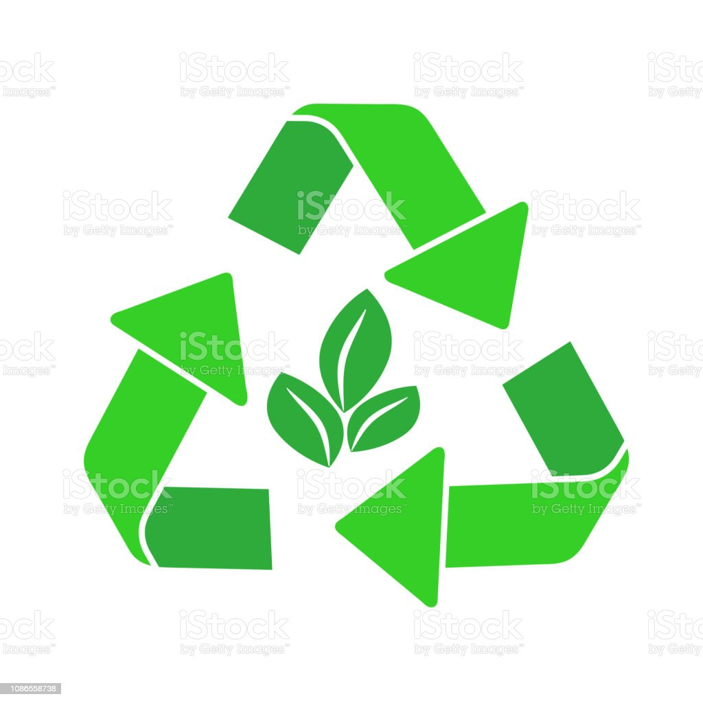 recycling arrows symbol isolated icon on white, stock vector...