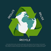 Recycling arrows symbol with Earth globe inside isolated on dark