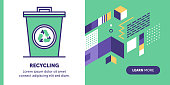 Recycling trash vector banner illustration also contains icon for the topic.