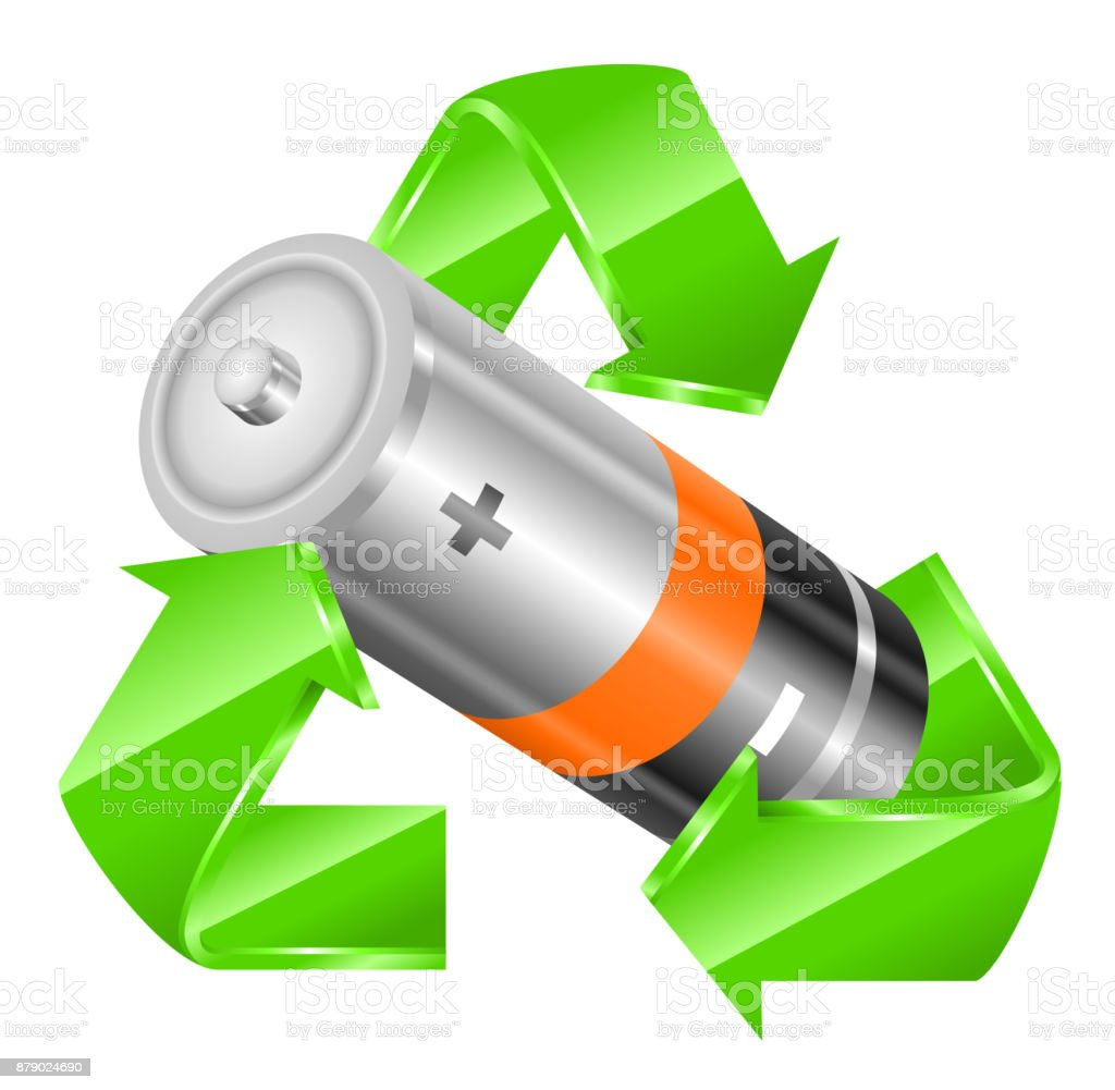 Recycling battery vector art illustration