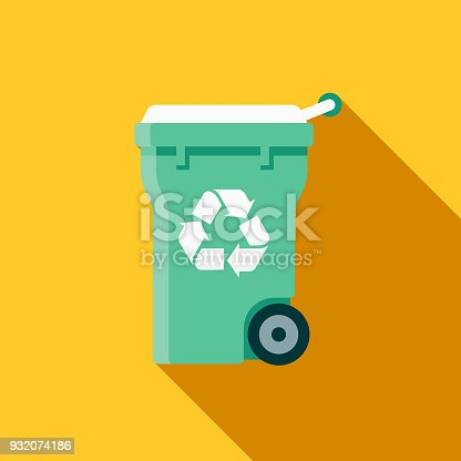 istock Recycling Bin Flat Design Cleaning Icon with Side Shadow 932074186