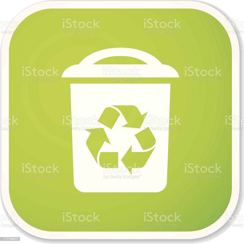 recycling bin sq sticker vector art illustration