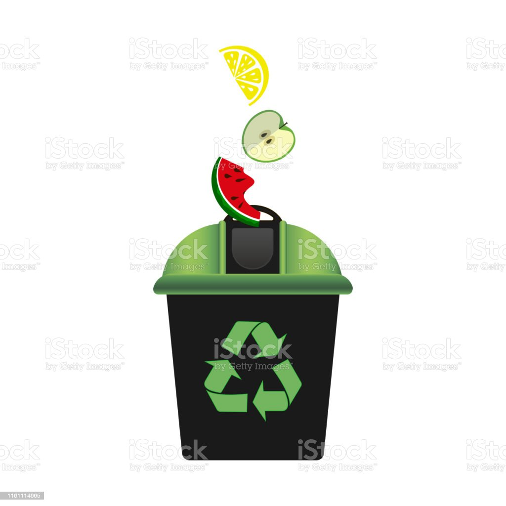 Recycling bin with green lid for waste products. Recycling symbol....