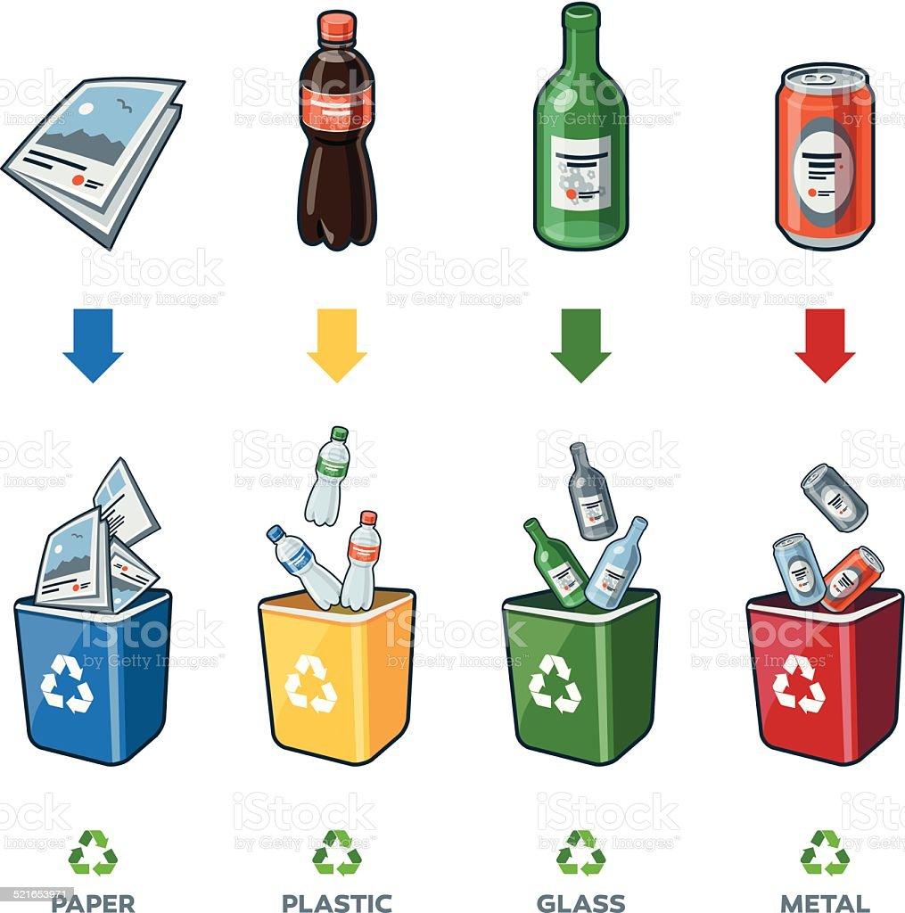 Recycling Bins for Paper Plastic Glass Metal Trash vector art illustration