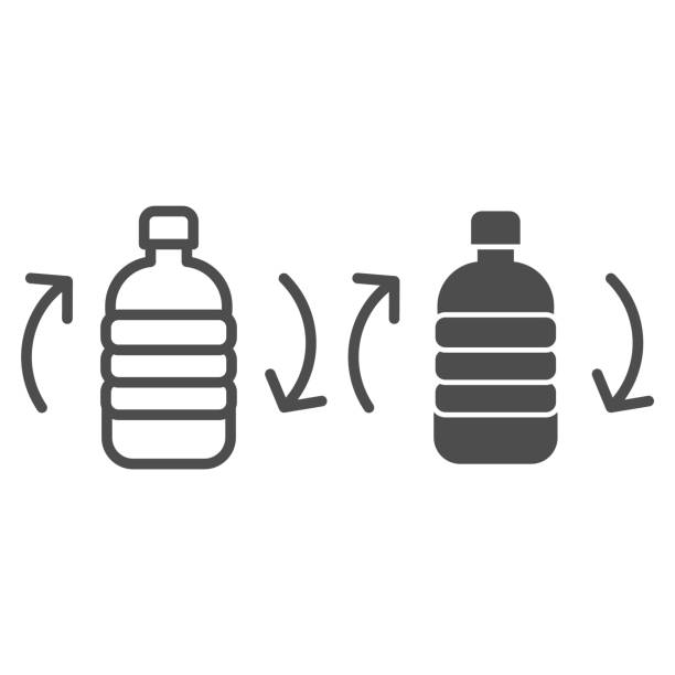 Recycling bottle line and solid icon. Recycle plastic can with arrows, biodegradable materials. Zero waste design concept, outline style pictogram on white background, use for web and app. Eps 10. Recycling bottle line and solid icon. Recycle plastic can with arrows, biodegradable materials. Zero waste design concept, outline style pictogram on white background, use for web and app. Eps 10 plastic pollution stock illustrations