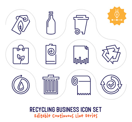 Recycling Business Editable Continuous Line Icon Pack