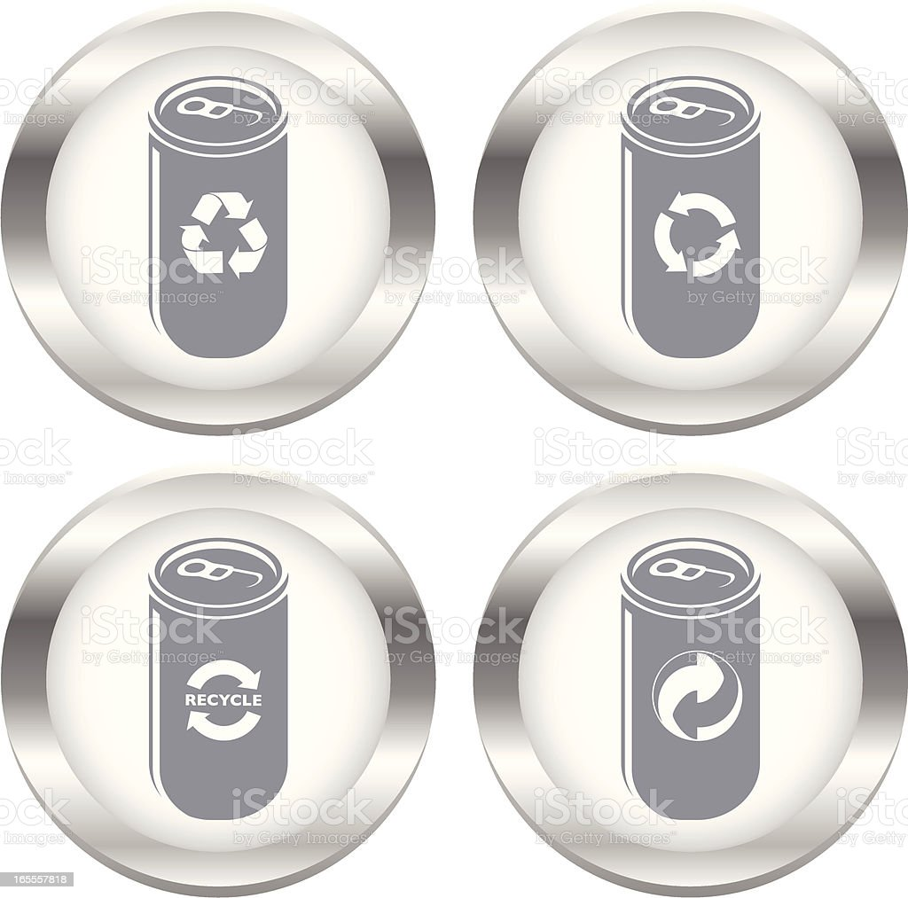 Recycling Cans Icon Set vector art illustration