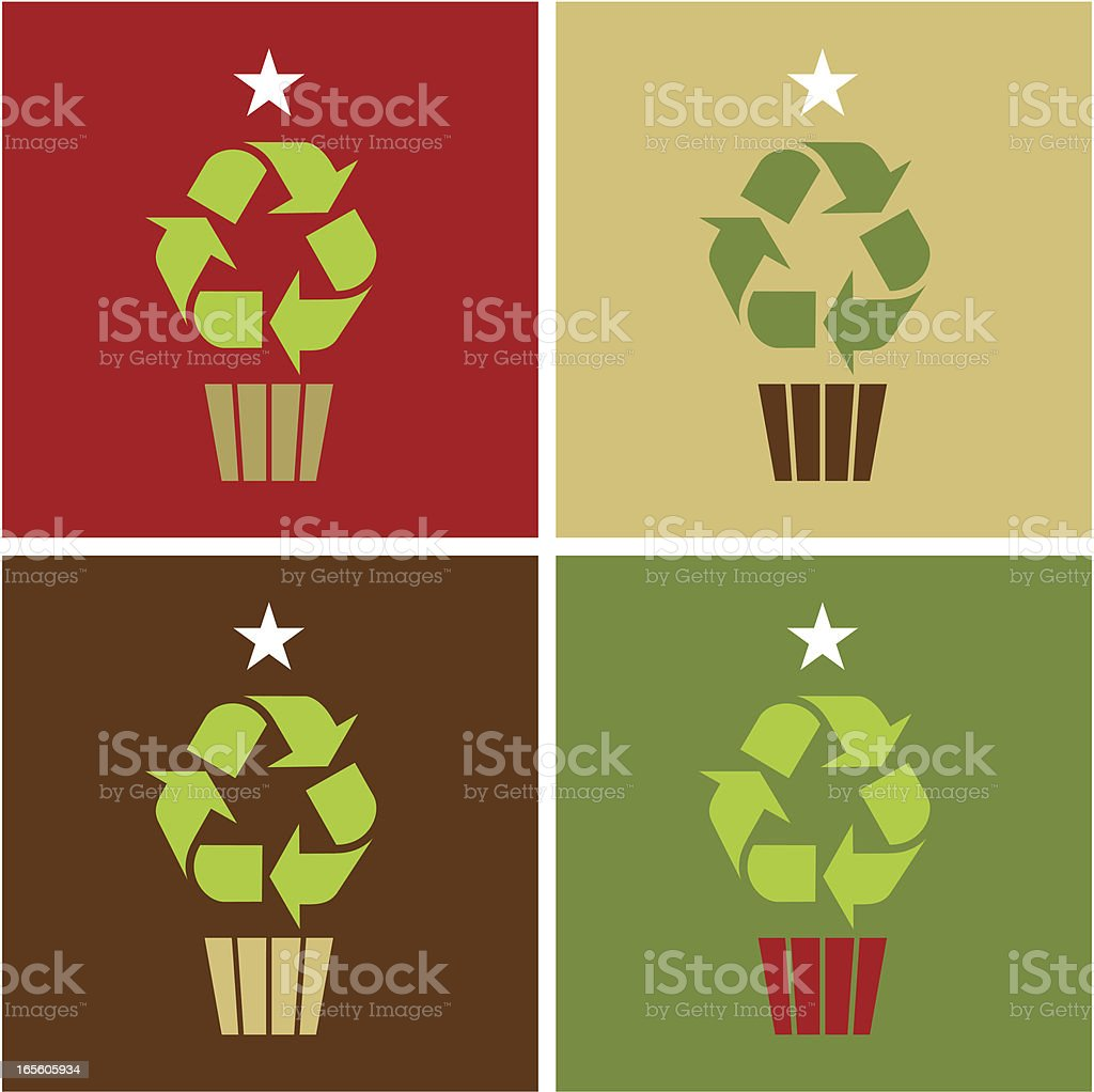 Recycling Christmas Tree Icon vector art illustration