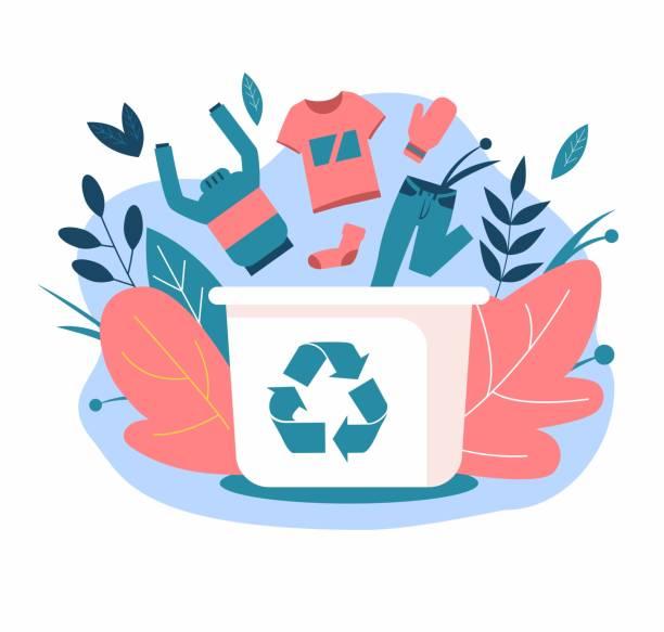 ilustraciones, imágenes clip art, dibujos animados e iconos de stock de reciclaje de ropa. ropa en el contenedor de basura - social media